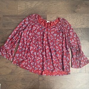 Lucky Brand Red, White & Blue Fall Floral Boho Top